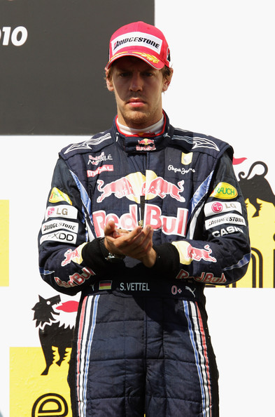 Sebastian Vettel Third placed Sebastian Vettel of Germany and Red Bull Racing is seen on the podium following the Hungarian Formula One Grand Prix at the Hungaroring on August 1, 2010 in Budapest, Hungary.