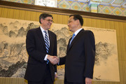 US Secretary of the Treasury Jack Lew (L) shakes hands with Chinese Premier Li Keqiang during a meeting in Zhongnanhai Leadership Compound on February 29, 2016 in Beijing, China.