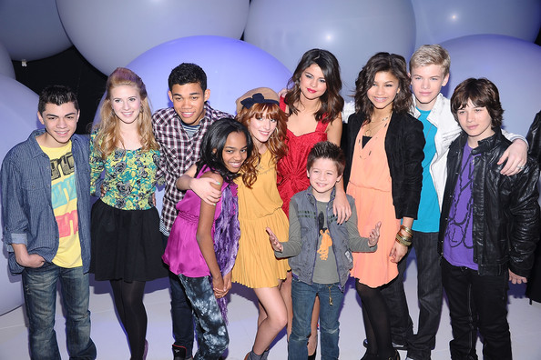 Selena Gomez (L-R) Adam Irigoyen, Caroline Sunshine, Roshon Fegan, China Anne McClain, Bella Thorne, Selena Gomez, Davis Cleveland, Zendaya Coleman, Kenton Duty and Leo Howard attend the 2011 Disney Kids & Family upfront at Gotham Hall on March 16, 2011 in New York City.