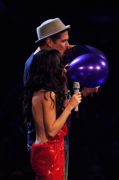 Selena Gomez MTV Europe Music Awards Hostess Selena Gomez (L) and actor David Hasselhoff present onstage during the MTV Europe Music Awards 2011 live show at at the Odyssey Arena on November 6, 2011 in Belfast, Northern Ireland.