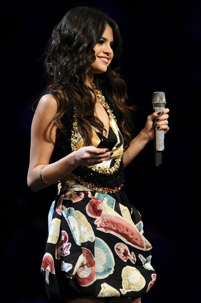 Selena Gomez MTV Europe Music Awards hostess Selena Gomez appears onstage during the MTV Europe Music Awards 2011 live show at at the Odyssey Arena on November 6, 2011 in Belfast, Northern Ireland.