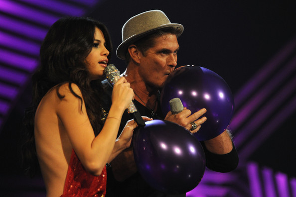 Selena Gomez MTV Europe Music Awards Hostess Selena Gomez (L) and actor David Hasselhoff speak onstage during the MTV Europe Music Awards 2011 live show at at the Odyssey Arena on November 6, 2011 in Belfast, Northern Ireland.