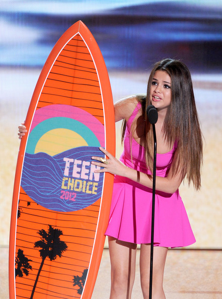 Selena Gomez Singer Selena Gomez accepts the Choice Music Group award onstage during the 2012 Teen Choice Awards at Gibson Amphitheatre on July 22, 2012 in Universal City, California.