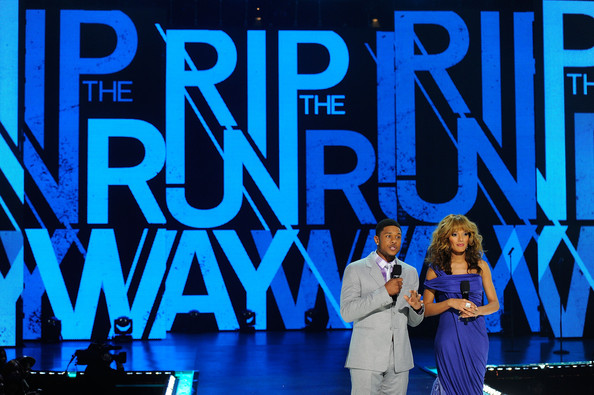 Selita Ebanks Hosts Pooch Hall and Selita Ebanks onstage during BET's Rip the Runway 2012 at Hammerstein Ballroom on February 29, 2012 in New York City.