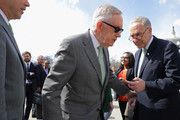 For the second time in as many months, Senate Minority Leader Harry Reid (D-NV) (C) and Sen. Charles Schumer (D-NY) (R) prepare for news conference to call on Senate Majority Leader Mitch McConnell (R-KY) and Senate Republicans to 'Do Your Job' outside the Supreme Court March 17, 2016 in Washington, DC. Senate Democrats are demanding that President Barack Obama's nominee to replace the late Justice Antonin Scalia, Merrick Garland, receive a confirmation hearing and a vote on the floor of the Senate.