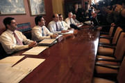 U.S. Rep. Paul Ryan (R-WI) (L), U.S. Rep. Eric Cantor (R-VA) (2ndL) and U.S. Rep. Dave Camp (R-MI) (3rd) and other house members speak to the media during a news conference on Capitol Hill, October 1, 2013 in Washington DC. Senate Democrats rejected negotiating with the House on government funding, leaving no clear path for ending the federal shutdown that began at midnight.
