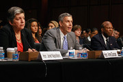 (L-R) Homeland Security Secretary Janet Napolitano, Education Secretary Arne Duncan and Under Secretary of Defense for Personnel and Readiness Dr. Clifford Stanley testifiy before the Senate Judiciary Committee's Subcommittee on Immigration, Refugees and Border Security about the DREAM Act June 28, 2011 in Washington, DC. The Development, Relief and Education for Alien Minors Act, or DREAM Act, would provide conditional permanent residency to certain illegal alien students who graduate from U.S. high schools, are deemed to be of good moral character, arrived in the U.S. as minors, and have been in the country continuously for at least five years prior to the bill's enactment.