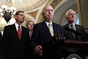 U.S. Senate Majority Leader Sen. Mitch McConnell (R-KY) (3rd L) speaks as (L-R) Sen. John Barrasso (R-WY), Sen. Roy Blunt (R-MO) and Senate Majority Whip Sen. John Cornyn (R-TX) listen during a news briefing after a weekly policy luncheon July 17, 2018 at the U.S. Capitol in Washington, DC. Senate GOPs participated in a weekly luncheon to discuss Republican agenda.