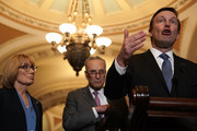 U.S. Sen. Chris Murphy (D-CT) speaks as Senate Minority Leader Sen. Chuck Schumer (D-NY) and Sen. Maggie Hassan (D-NH) (L) listen during a news briefing after a weekly Senate Democratic Policy Luncheon at the Capitol May 8, 2018 in Washington, DC. Senate Democrats held the weekly luncheon to discuss Democratic agenda.