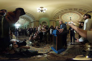 Image was created as an Equirectangular Panorama. Import image into a panoramic player to create an interactive 360 degree view.) U.S. Senate Minority Leader Sen. Harry Reid (D-NV) speaks to members of the media after the weekly Democratic Policy Luncheon at the Capitol September 7, 2016 in Washington, DC. Senate Democrats held its weekly policy luncheon to discuss Democratic agenda.
