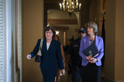 (L-R) Sen. Susan Collins (R-ME) and Sen. Lisa Murkowski (R-AK) walk together as they arrive to a closed-door lunch meeting of GOP Senators at the U.S. Capitol, October 3, 2018 in Washington, DC. An FBI report on current allegations against Supreme Court nominee Brett Kavanaugh is expected by the end of this week, possibly later today.