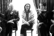 """Image has been converted to black and white) Actors Jim Broadbent, Michelle Dockery, Harriet Walter attend the """"The Sense of an Ending"""" Lunch & Q and A at The Lotus Club on March 7, 2017 in New York City."""