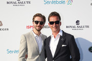 (L-R) Dan Stevens and Torquhil Campbell, 13th Duke of Argyll, Royal Salute ambassadors, attend The Sentebale Polo Cup presented by Royal Salute World Polo at Ghantoot Polo Club on November 20, 2014 in Abu Dhabi, United Arab Emirates.