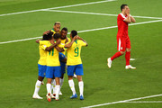 Paulinho of Brazil celebrates with teammates after scoring his team's first goal during the 2018 FIFA World Cup Russia group E match between Serbia and Brazil at Spartak Stadium on June 27, 2018 in Moscow, Russia.