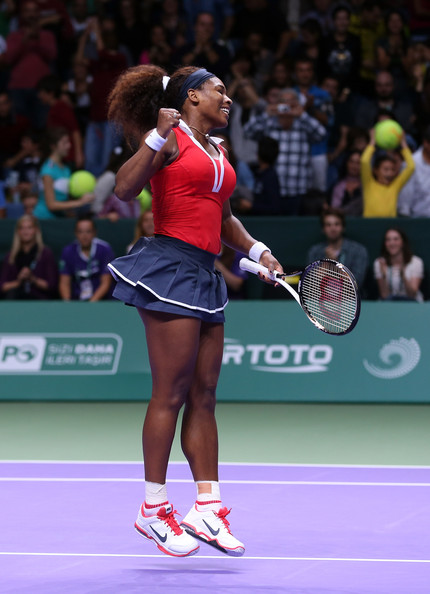 Serena Williams Serena Williams of USA celebrates defeating Maria Sharapova of Russia in the final during day six of the season ending TEB BNP Paribas WTA Championships Tennis at the Sinan Erdem Dome on October 28, 2012 in Istanbul, Turkey.