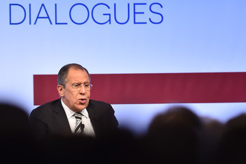 Sergei Lavrov US and Russia Foreign Ministers Attend the Mediterranean Dialogues (MED) Summit