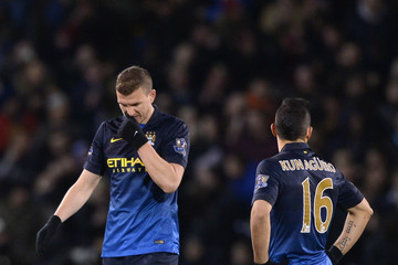 Sergio Aguero Edin Dzeko Burnley v Manchester City - Premier League