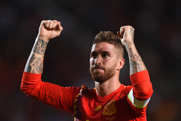 Spain vs. Croatia - UEFA Nations League A [arm,gesture,performance,elbow,performing arts,sergio ramos,uefa nations league a,goal,spain,croatia,estadio manuel martinez valero,elche,team,uefa nations league a group,match]
