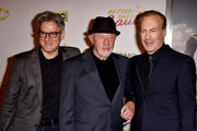 """(L-R) Show creator Peter Gould, actors Jonathan Banks, Bob Odenkirk and show creator Vince Gilligan arrive at the series premiere of AMC's """"Better Call Saul"""" at the Regal Cinemas L.A. Live on January 29, 2015 in Los Angeles, California."""
