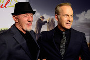 """(L-R)  Actors Jonathan Banks and Bob Odenkirk arrives at the Series Premiere Of AMC's """"Better Call Saul"""" at Regal Cinemas L.A. Live on January 29, 2015 in Los Angeles, California."""