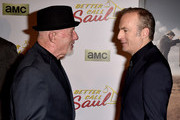 """Actor Jonathan Banks (L) and Bob Odenkirk arrive at the series premiere of AMC's """"Better Call Saul"""" at the Regal Cinemas L.A. Live on January 29, 2015 in Los Angeles, California."""