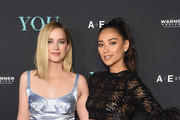 """Elizabeth Lail (L) and Shay Mitchell attend the """"You"""" Series Premiere Celebration hosted by Lifetime on September 6, 2018 in New York City."""