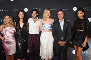 """(L-R)  Author Caroline Kepnes, Executive Producer Sera Gamble, Penn Badgley, Elizabeth Lail, President A+E Networks Paul Buccieri and Shay Mitchell attend the """"You"""" Series Premiere Celebration hosted by Lifetime on September 6, 2018 in New York City."""