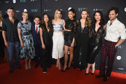 """(L-R) Daniel Cosgrove, Emily Bergl, Luca Padovan, Nicole Kang, Elizabeth Lail, Shay Mitchell, Kathryn Gallagher, Executive Producer Sera Gamble and Penn Badgley attend the """"You"""" Series Premiere Celebration hosted by Lifetime on September 6, 2018 in New York City."""