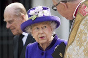 Queen Elizabeth II talks with Dean of Westminster John Hall as she leaves with Prince Philip, Duke of Edinburgh after attending a Service of Thanksgiving for the life and work of Lord Snowdon at Westminster Abbey on April 7, 2017 in London, United Kingdom.