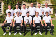 The team of Europe pose for a team photograph, (back row left to right) Miguel Angel Jimenez, Gegory Bourdy , Gonzalo Fernandez Castano, Thomas Bjorn, Nicolas Colsaerts and Mikko Ilonen. (front row left to right) Matteo Manassero, Francesco Molinari, capatin Jose Maria Olazabal, Joost Luiten and Thorbjorn Olesen.prior to the start of Le Seve Trophy at Golf de Saint-Nom-la-Breteche on October 2, 2013 in Paris, France.