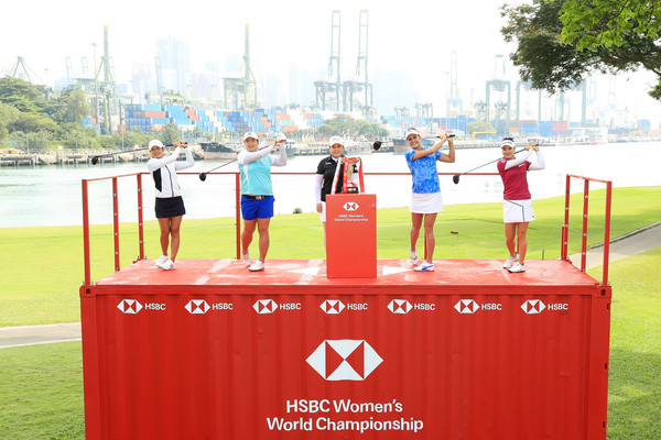HSBC Women's Champions - Previews [hsbc womens champions - previews,stage equipment,recreation,leisure,podium,competition,competition event,advertising,tiffany chan,lexi thompson,shanshan feng,l-r,south korea,hong kong,united states,inbee park,china]