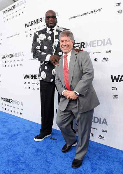 WarnerMedia Upfront 2019 - Arrivals [carpet,suit,red carpet,event,premiere,award,white-collar worker,formal wear,flooring,world,arrivals,lenny daniels,shaquille oneal,red carpet,new york city,the theater at madison square garden,warnermedia,inside the nba on tnt,turner sports,arrivals]