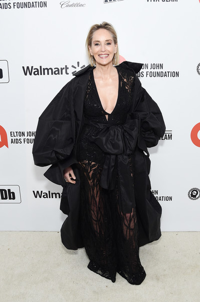 28th Annual Elton John AIDS Foundation Academy Awards Viewing Party Sponsored By IMDb, Neuro Drinks And Walmart - Red Carpet [clothing,hairstyle,carpet,outerwear,dress,premiere,flooring,black hair,long hair,fashion design,neuro drinks,elton john aids foundation academy awards viewing party,sharon stone,west hollywood,california,walmart,imdb,red carpet,sharon stone,elton john aids foundation,academy awards viewing party,oscar viewing party,91st academy awards,92nd academy awards,2020,livingly media,socialite]
