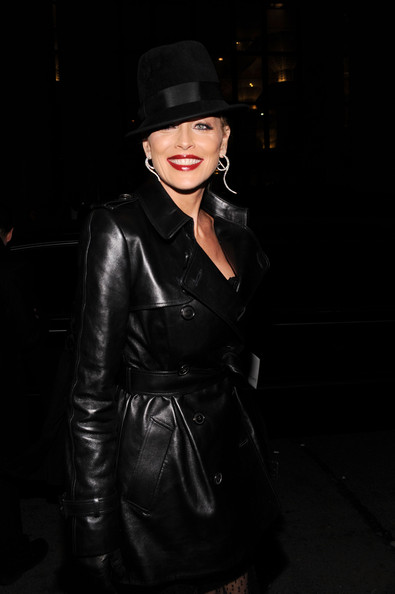 """8th Annual Elton John AIDS Foundation's """"An Enduring Vision"""" - Arrivals [an enduring vision,clothing,leather,lady,fashion,textile,darkness,leather jacket,outerwear,hat,headgear,arrivals,sharon stone,benefit,wall street,new york city,elton john aids foundation,cipriani]"""