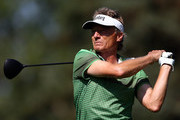 Bernhard Langer of Germany hits his tee shot on the 7th hole during the first round of the Shaw Charity Classic at the Canyon Meadows Golf and Country Club on August 31, 2018 in Calgary, Canada.