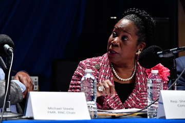 Sheila Jackson Lee SiriusXM's Joe Madison Hosts A Roundtable Of Veteran Journalists, Politicians & Political Commentators To Discuss President Trump's First 100 Days