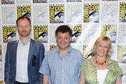 (L-R) Executive producers Mark Gatiss, Steven Moffat and Sue Vertue attend 'Sherlock' Press Line during Comic-Con International 2013 at Hilton San Diego Bayfront Hotel on July 18, 2013 in San Diego, California.
