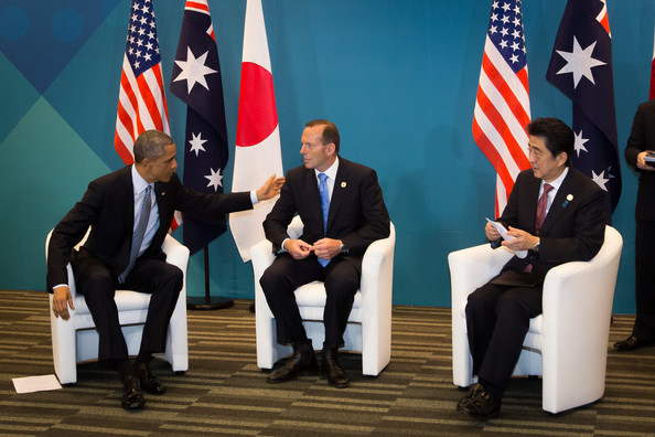 World Leaders Gather for G20 Summit  [event,flag,flag of the united states,news conference,official,businessperson,employment,management,job,government,barack obama,tony abbott,shinzo abe,l-r,u.s.,australian,brisbane,world leaders gather for g20 summit,g20 summit,meeting]
