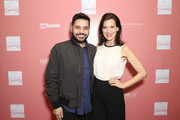 """Celebrity Fashion Designer and Co-Host Michael Costello and actress Perrey Reeves arrive at """"Shop for Success"""": Dress for Success West Coast (LA) fundraiser on November 29, 2018 in Los Angeles, California."""