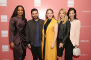 """(L-R) Co-Hosts Garcelle Beauvais, Michael Costello, Dress for Success Worldwide-West, Director Lesley Brillhart, Co-Host Katheryn Winnick, and actress Perrey Reeves arrive at """"Shop for Success"""": Dress for Success West Coast (LA) fundraiser on November 29, 2018 in Los Angeles, California."""