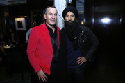 Brian Bolke and Waris Ahluwalia attend ShopBAZAAR x The Conservatory Bright Spot Holiday Party at the TAK Room - Bookbinder Bar on November 21, 2019 in New York City.