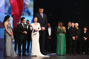 Presenter Chen Chen speaks with new Laureus Academy member Sachin Tendulkar with former Basketball player Yao Ming of China and Laureus World Sports Academy member Yang Yang (C) onstage during the 2015 Laureus World Sports Awards show at the Shanghai Grand Theatre on April 15, 2015 in Shanghai, China.