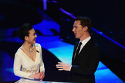 Presenter Chen Chen and host Benedict Cumberbatch speak during the 2015 Laureus World Sports Awards show at the Shanghai Grand Theatre on April 15, 2015 in Shanghai, China.