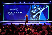 Laureus Academy Member Missy Franklin announces the Laureus Good For Sport Award on stage during the 2019 Laureus World Sports Awards on February 18, 2019 in Monaco, Monaco.