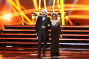 Thomas Gottschalk and Sophia Loren on stage during the 70th Bambi Awards show at Stage Theater on November 16, 2018 in Berlin, Germany.
