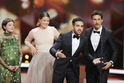 Award winners Jella Haase, Jessica Schwarz, Elyas M'Barek and Florian David Fitz pose on stage during the 71st Bambi Awards show at Festspielhaus Baden-Baden on November 21, 2019 in Baden-Baden, Germany.