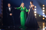 (L-R) Award winner Orlando Bloom, host Barbara Schoenberger and Ana Ivanovic seen on stage during the GQ Men of the Year Award show at Komische Oper on November 08, 2018 in Berlin, Germany.