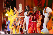Yasmine Petty, Deborah Cox and Amanda Lepore perform on stage during the Life Ball 2019 show at City Hall on June 08, 2019 in Vienna, Austria. After 26 years the charity event Life Ball will take place for the very last time, raising funds for HIV & AIDS projects.