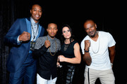 """(L-R) NBA player James Caron Butler of the Sacramento Kings,rapper Bow Wow, Intern Coach Jen Welter with the Arizona Cardinals and television personality Darian """"Big Tigger"""" Morgan arrive at the VIP Pre-Fight Party for 'High Stakes: Mayweather v. Berto' presented by Showtime at the MGM Grand Garden Arena on September 12, 2015 in Las Vegas, Nevada."""