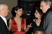Actress Morena Baccarin, Lauren White, and producer Alex Gansa attend Showtime's Golden Globe nominees cocktail reception at Osteria Mozza on January 14, 2012 in Los Angeles, California.